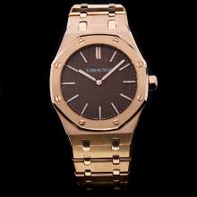Audemars Piguet Royal Oak Automatic Full Rose Gold with Brown Dial-18K Plated Gold Movement