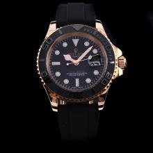 Rolex Yachtmaster Automatic Rose Gold Case Ceramic Bezel with Black Dial-Rubber Strap