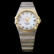 Omega Constellation Swiss ETA 8500 Movement Two Tone Diamond Markers with MOP Dial