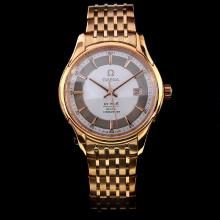 Omega De Ville Swiss ETA 2824 Movement Full Rose Gold with White Dial-Rose Gold Stick Marking