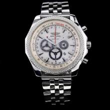 Breitling for Bentley Working Chronograph White Dial with Stick Marking S/S