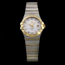 Omega Constellation Swiss ETA 2671 Movement Two Tone White Dial with Diamond Marking-Lady Size
