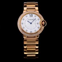 Cartier Ballon bleu de Cartier Full Rose Gold Diamond Bezel and Markers with White Dial-Medium Size