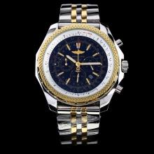 Breitling For Bentley Motors Working Chronograph Two Tone with Black Dial-Stick Marking