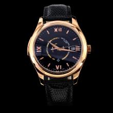 Patek Philippe Swiss ETA 2836 Movement Rose Gold Case Black Dial with Leather Strap-18K Plated Gold Movement
