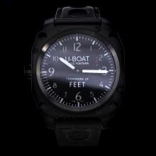U-Boat Thousands of Feet Swiss ETA Unitas 6497 Movement PVD Case with Black Dial-Leather Strap