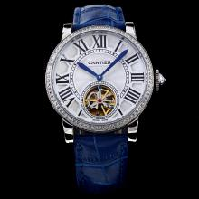 Cartier Rotonde de Cartier Tourbillion Automatic Diamond Bezel White Dial with Blue Leather Strap-18K Plated Gold Movement