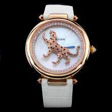 Cartier Masse Secrete Panther Decor Rose Gold Case with MOP Dial-White Leather Strap
