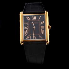 Cartier Tank Rose Gold Case with Black Dial-Leather Strap