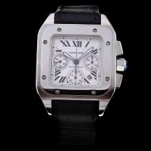 Cartier Santos 100 Chronograph Swiss Valjoux 7750 Movement with White Dial-Black Leather Strap