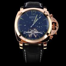 Panerai Luminor Tourbillon Automatic Rose Gold Case with Black Dial-Leather Strap