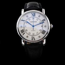 Cartier Rotonde de Cartier Automatic with White Dial-Leather Strap-1