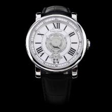 Cartier Rotonde de Cartier Automatic with White Dial-Leather Strap