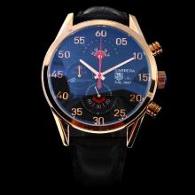 Tag Heuer Carrera Cal.1887 Working Chronograph Rose Gold Case with Black Dial-Leather Strap