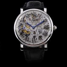 Cartier Calibre de Cartier Manual Winding with Skeleton Dial-Leather Strap