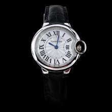 Cartier Ballon bleu de Cartier Roman Marking with White Dial-Black Leather Strap