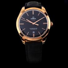 Omega Master Co-Axial Swiss ETA 8520 Movement Rose Gold Case with Black Dial-Leather Strap
