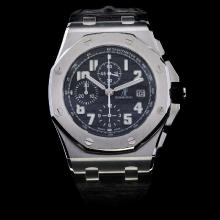 Audemars Piguet Royal Oak Offshore Chronograph Swiss Valjoux 7750 Movement with Black Dial-Leather Strap
