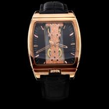 Corum Golden Bridge Manual Winding Rose Gold Case with Black Dial-Leather Strap