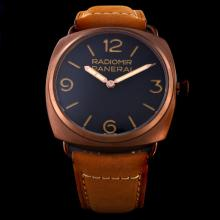 Panerai Radiomir Asia Unitas 6497 Movement with Swan Neck Coffee Gold Case with Black Dial