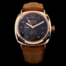 Panerai Radiomir 10 Days Automatic Working Power Reserve Rose Gold Case with Black Dial-Leather Strap