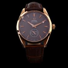 Omega Seamaster Automatic Rose Gold Case Brown Dial with Stick Marking-Leather Strap