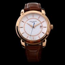 Patek Philippe Classic ETA 2824 Rose Gold Case White Dial with Stick Marking-Leather Strap