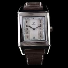 Jaeger Lecoultre Reverso White Dial with Number Marking-Brown Leather Strap