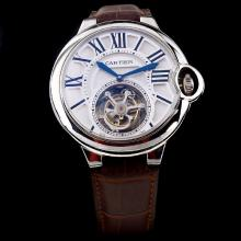 Cartier Calibre de Cartier Working Tourbillon Manual Winding with White Dial-Leather Strap