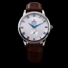 Omega De Ville Automatic Silver Dial with Blue Roman Marking-Leather Strap
