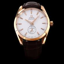 Omega Seamaster Automatic Rose Gold Case with White Dial-Leather Strap