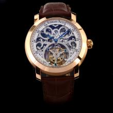 Audemars Piguet Jules Working Tourbillon Lemania Movement Manual Winding Rose Gold Case with Skeleton Dial-Leather Strap