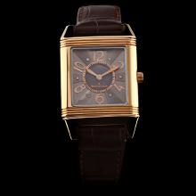 Jaeger Lecoultre Reverso Rose Gold Case with Brown Dial-Leather Strap