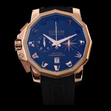 Corum Admiral's Cup Working Chronograph Rose Gold Case with Black Dial-Rubber Strap