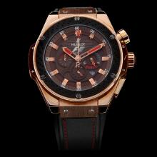 Hublot Big Bang F1 Working Chronograph Rose Gold Case with Brown Dial-Black Rubber Strap