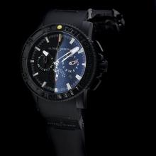 Ulysse Nardin Maxi Marine Diver Chronograph Swiss Valjoux 7750 Movement PVD Case with Black Dial-Rubber Strap
