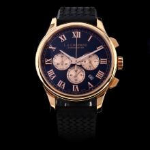 Chopard LUC Working Chronograph Rose Gold Case with Black Dial-Rubber Strap