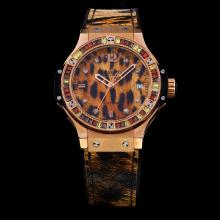 Hublot Big Bang Rose Gold Case Diamond Bezel with Leopard Pattern Dial