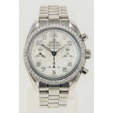 Omega Speedmaster Factory Diamond Bezel  Chronograph Ladies 38mm Watch Mother of Pearl