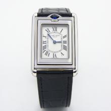 Cartier Paris Swiss Quartz White / Diamond Reversible Dial Sapphire Glass Crocodile leather strap(Gift Box is Included)