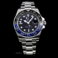 Rolex GMT-Master II Automatic Swiss ETA 2836 Movement Black/Blue ceramics Bezel with Black Dial S/S-