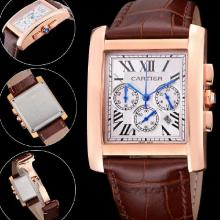 Cartier Tank Working Chronograph Rose Gold Case With white Dial-Leather Strap