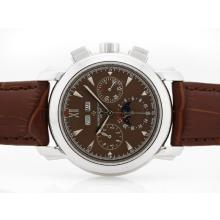 Vacheron Constantin Malte Perpetual Calendar Automatic  With Brown Dial-Sapphire Glass