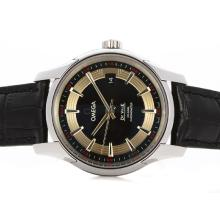 Omega Hour Vision See Thru Caso Svizzero Movimento ETA 2836 Con Black Strap Dial-Leather