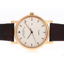 Vacheron Constantin Overseas Cassa In Oro Rosa Con Quadrante Bianco-Leather Strap
