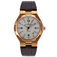 Vacheron Constantin Overseas Movimento Svizzero Eta 2836 Cassa In Oro Rosa Con Quadrante Bianco-Leather Strap