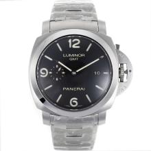 Panerai Luminor GMT Asia Valjoux 7750 Movimento Con Quadrante Nero S / S