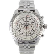 Cronografo Breitling For Bentley Motors Lavorare Con Quadrante Bianco-S / S