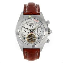 Breitling Chronomat Evolution Tourbillon Automatico Con Quadrante Bianco-Leather Strap